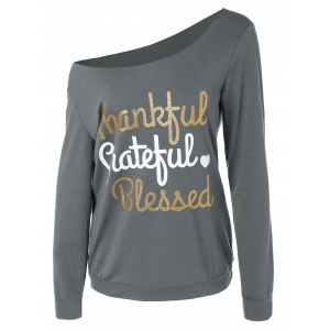 Thanksgiving Skew Collar Letter Graphic Tee