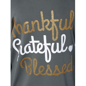 Thanksgiving Skew Collar Letter Graphic Tee - GRAY L