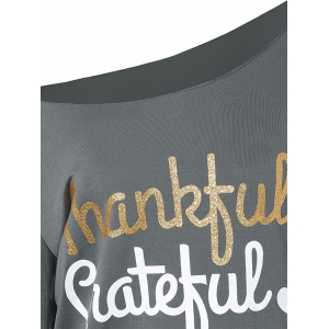 Thanksgiving Skew Collar Letter Graphic Tee -