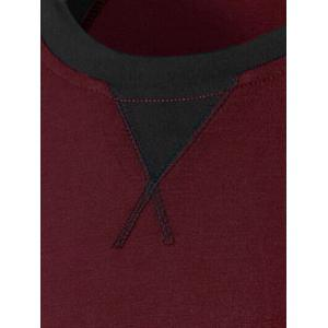 Color Splicing Round Collar Raglan Sleeve T-Shirt - WINE RED M