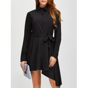 Asymmetric Fitting Long Sleeve Dress - Black - M