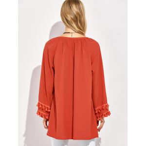 V Neck Long Sleeve Tassel Blouse - RED 2XL