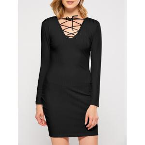 Plunging Neck Lace Up Bodycon Club Dress