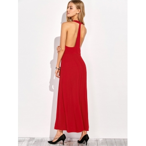 Plunging Neck Racerback Front Slit Maxi Club Dress -