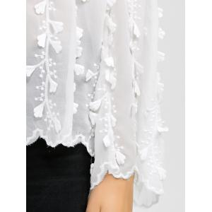 Flare Sleeves Floral Embroidered Chiffon Blouse - WHITE XL