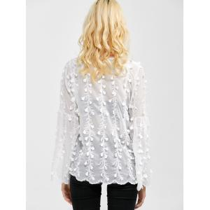 Flare Sleeves Floral Embroidered Chiffon Blouse -