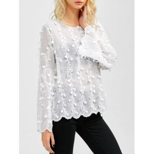 Flare Sleeves Floral Embroidered Chiffon Blouse