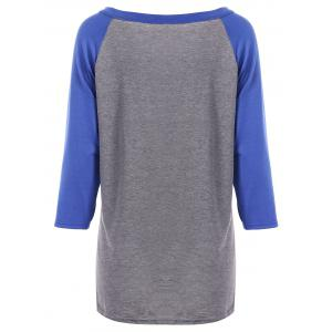 Arrow Print Raglan Sleeves T-Shirt - BLUE XL