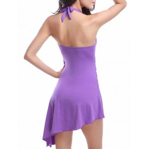 Halter Asymmetric Skirted One-Piece Swimwear -