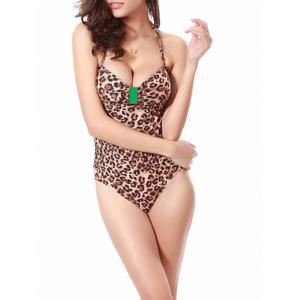 Halter Leopard Push Up Monokini One Piece Swimwear -