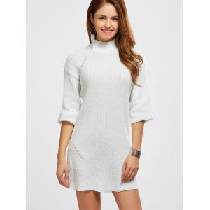 High Neck Hollow Out Knitted Casual Dress - WHITE ONE SIZE