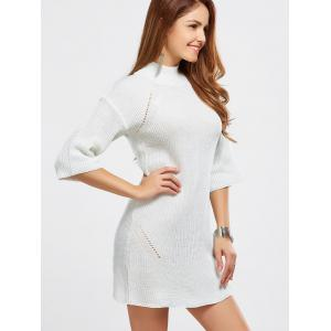 High Neck Hollow Out Knitted Casual Dress -