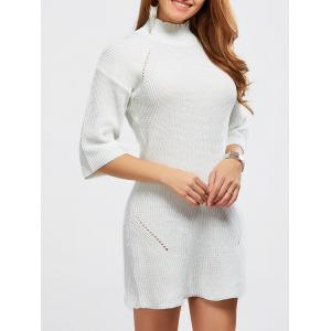 High Neck Hollow Out Knitted Casual Dress - White - One Size