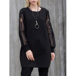 Floral Lace Panel Tunic T-Shirt - BLACK 5XL