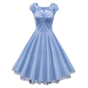 Polka Dot Cap Sleeve Lace Trim Dress