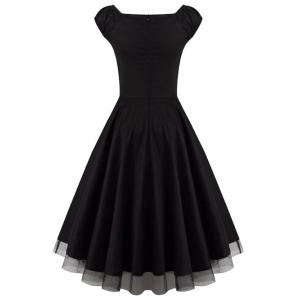 Lace Panel  Ruched Swing Dress -