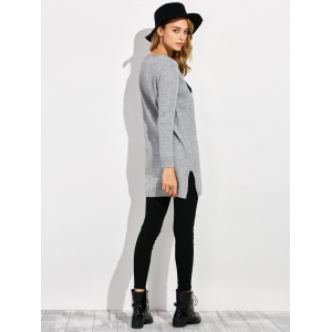 Dolphin Slit Ribbed Sweater - GRAY 2XL