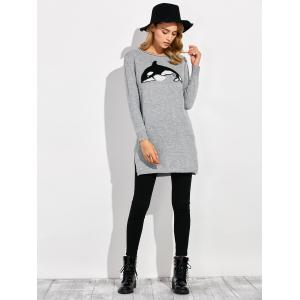 Dolphin Slit Ribbed Long Sweater - GRAY 2XL