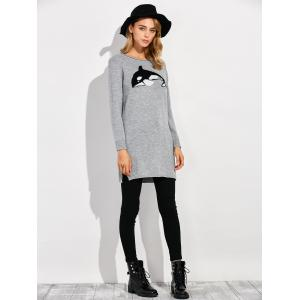 Dolphin Slit Ribbed Long Sweater -