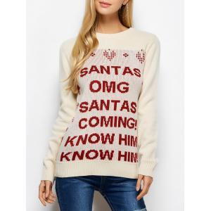 Crew Neck Letter Christmas Sweater
