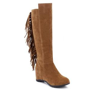 Round Toe Fringe Hidden Wedge Boots - Brown - 38