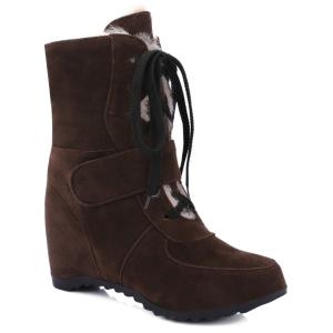 Tie Up Hidden Wedge Suede Short Boots - Deep Brown - 37
