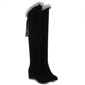 Faux Fur Zipper Hidden Wedge Thigh Boots