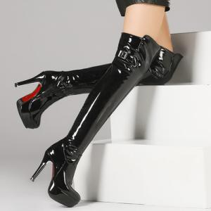 Platform Patent Leather Buckle Strap Thigh Boots -
