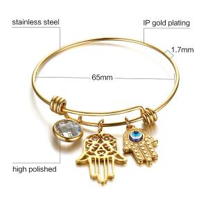 Gold Plated Rhinestone Devil Eye Palm Bracelet - GOLDEN
