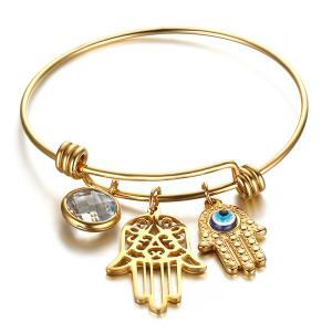 Gold Plated Rhinestone Devil Eye Palm Bracelet - Golden - 8