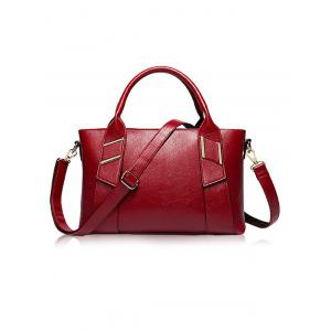 Textured PU Leather Metal Handbag Set -