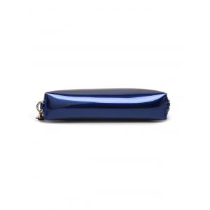 Stitching Zip Around Patent Leather Wristlet -