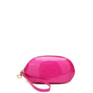 Zip Around Patent Leather Wristlet - Rose Red