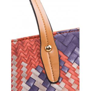 Colored Weaving PU Leather Shouder Bag -