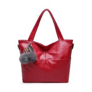 Textured PU Leather Pompons Shouder Bag