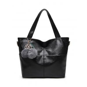 Textured PU Leather Pompons Shouder Bag - Black