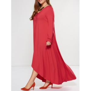 Plus Size Asymmetrical Smock Maxi Dress With Long Sleeves - RED XL