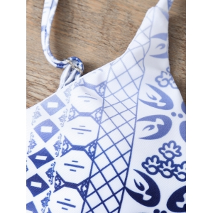 Blue and White Porcelain Print Bikini -