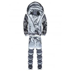 Zip Up Camouflage Panel Hoodie and Sweatpants