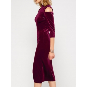 Velvet Cold Shoulder Long Bodycon Dress -