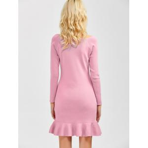Long Sleeves Knitted Fishtail Bodycon Dress -