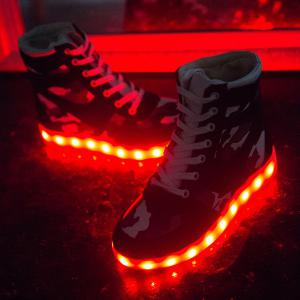 High Top Camo USB Charging Flashing Sneakers - BLACK 38