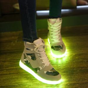 High Top Camo USB Charging Flashing Sneakers -