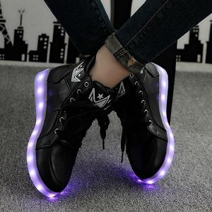 Light Up Flashing Sneakers - BLACK 39