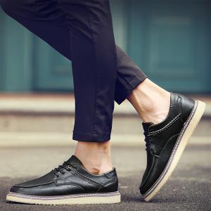 Tie Up Stitching Faux Leather Casual Shoes - BLACK 43
