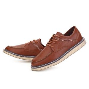 Tie Up Stitching Faux Leather Casual Shoes -