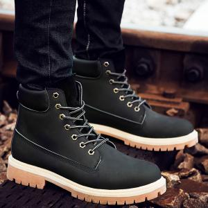 Suede PU Leather Lace Up Boots -