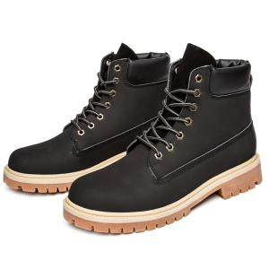 Suede PU Leather Lace Up Boots - BLACK 43