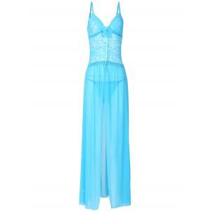 Babydoll long transparent en dentelle