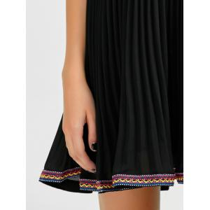 Embroidered Trim Pleated Mini Swing Dress -